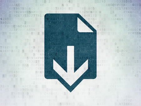 ftp servers: Web design concept: Painted blue Download icon on Digital Data Paper background Stock Photo