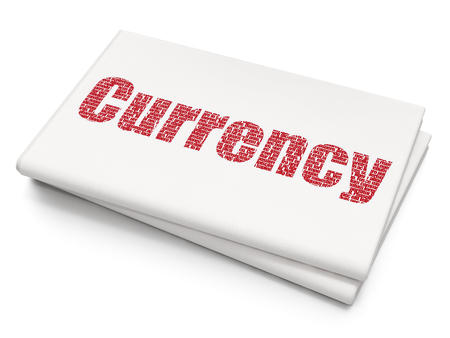 news values: Currency concept: Pixelated red text Currency on Blank Newspaper background, 3D rendering