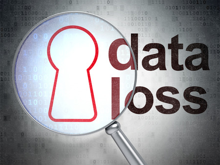 data loss: Data concept: magnifying optical glass with Keyhole icon and Data Loss word on digital background, 3D rendering