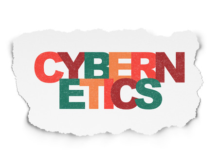 cybernetics: Science concept: Painted multicolor text Cybernetics on Torn Paper background
