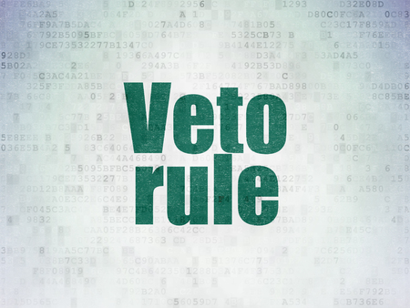 veto: Politics concept: Painted green word Veto Rule on Digital Data Paper background Stock Photo