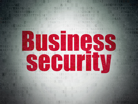 Security concept: Painted red word Business Security on Digital Data Paper background