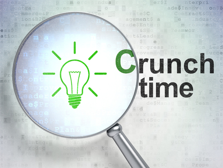 crunch: Finance concept: magnifying optical glass with Light Bulb icon and Crunch Time word on digital background, 3D rendering