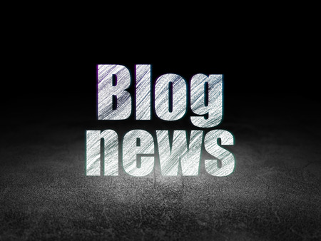 news room: News concept: Glowing text Blog News in grunge dark room with Dirty Floor, black background