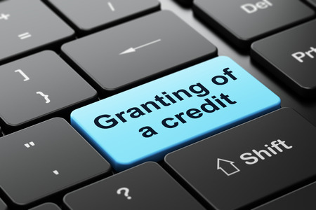 granting: Money concept: computer keyboard with word Granting of A credit, selected focus on enter button background, 3D rendering