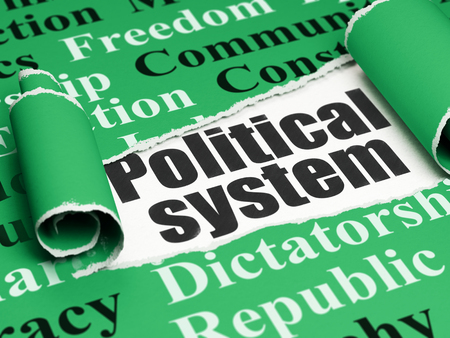 political system: Political concept: black text Political System under the curled piece of Green torn paper with  Tag Cloud, 3D rendering