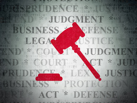 data protection act: Law concept: Painted red Gavel icon on Digital Data Paper background with  Tag Cloud Stock Photo