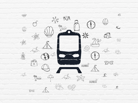 black train: Tourism concept: Painted black Train icon on White Brick wall background with  Hand Drawn Vacation Icons