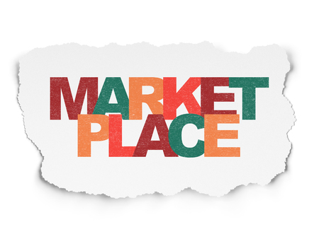Marketing concept: Painted multicolor text Marketplace on Torn Paper background Stock Photo