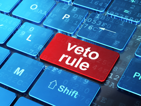 veto: Politics concept: computer keyboard with word Veto Rule on enter button background, 3D rendering Stock Photo