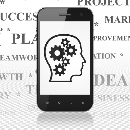 head tag: Finance concept: Smartphone with  black Head With Gears icon on display,  Tag Cloud background, 3D rendering Stock Photo