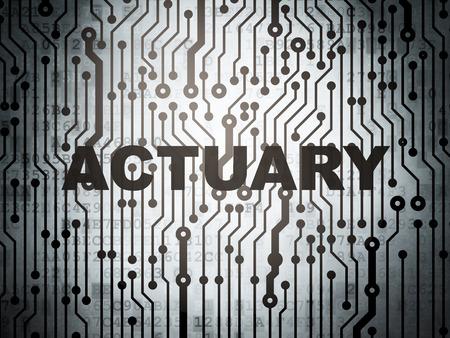 circuito electrico: Concepto del seguro: placa de circuito con actuario palabra, 3D Foto de archivo