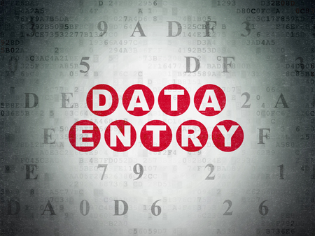 data entry: Data concept: Painted red text Data Entry on Digital Data Paper background with Hexadecimal Code Stock Photo