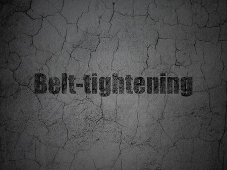 tightening: Finance concept: Black Belt-tightening on grunge textured concrete wall background
