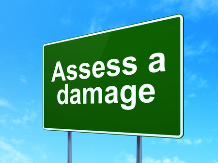 assess: Insurance concept: Assess A Damage on green road highway sign, clear blue sky background, 3D rendering Stock Photo