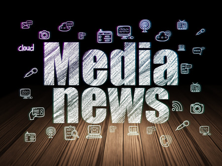 urgent announcement: News concept: Glowing text Media News,  Hand Drawn News Icons in grunge dark room with Wooden Floor, black background