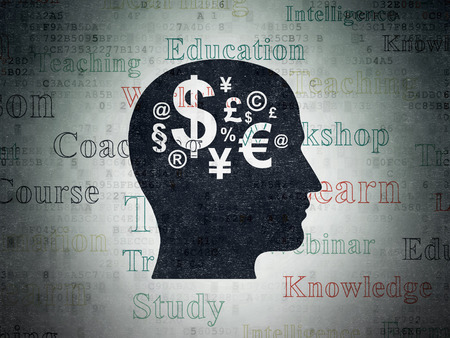 head tag: Learning concept: Painted black Head With Finance Symbol icon on Digital Data Paper background with  Tag Cloud