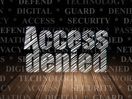room access: Safety concept: Glowing text Access Denied in grunge dark room with Wooden Floor, black background with  Tag Cloud Stock Photo
