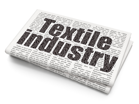 industria textil: Industry concept: Pixelated black text Textile Industry on Newspaper background, 3D rendering Foto de archivo