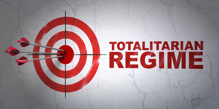regime: Success politics concept: arrows hitting the center of target, Red Totalitarian Regime on wall background, 3D rendering