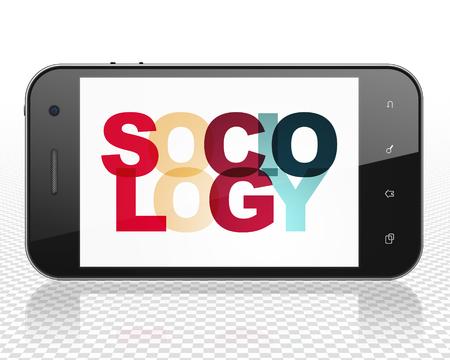 sociology: Aprendizaje de conceptos: Smartphone con la sociología de texto multicolor pintado en la pantalla, 3D