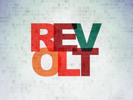 revolt: Politics concept: Painted multicolor text Revolt on Digital Data Paper background