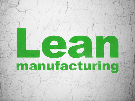 to lean: Manufacuring concept: Green Lean Manufacturing on textured concrete wall background Stock Photo