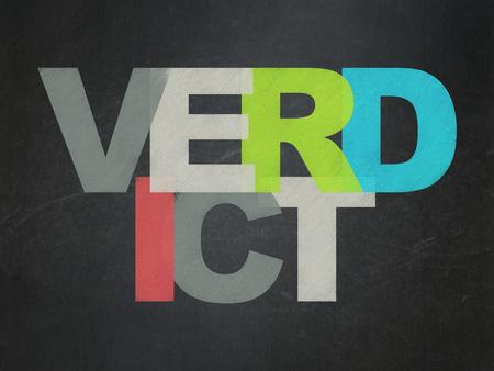verdict: Law concept: Painted multicolor text Verdict on School board background, School Board