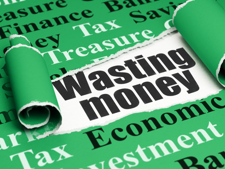 wasting: Money concept: black text Wasting Money under the curled piece of Green torn paper with  Tag Cloud, 3D rendering