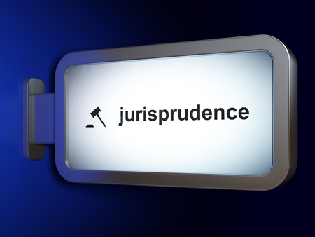 jurisprudencia: Ley concepto: Jurisprudencia y Mazo en el fondo cartelera publicitaria, 3D