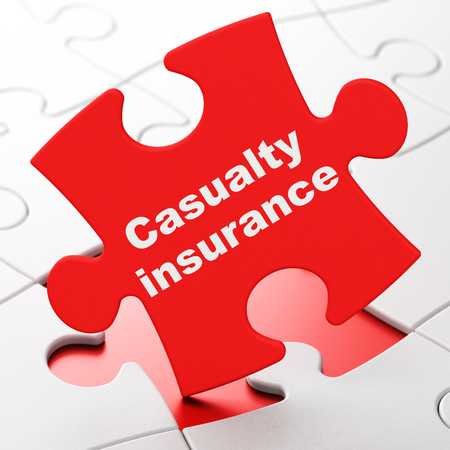 casualty: Insurance concept: Casualty Insurance on Red puzzle pieces background, 3D rendering