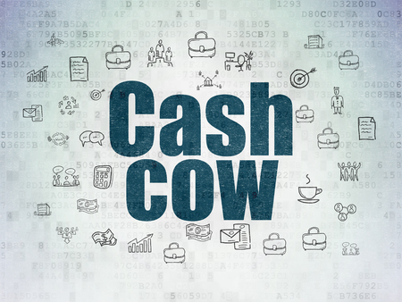 cash cow: Business concept: Painted blue text Cash Cow on Digital Data Paper background with  Hand Drawn Business Icons Stock Photo
