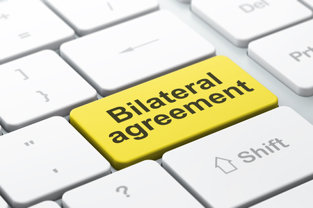 bilateral: Insurance concept: computer keyboard with word Bilateral Agreement, selected focus on enter button background, 3D rendering