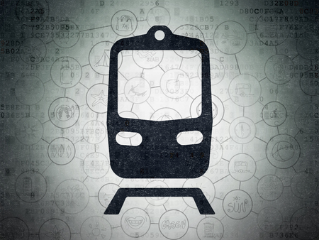black train: Tourism concept: Painted black Train icon on Digital Data Paper background with Scheme Of Hand Drawn Vacation Icons