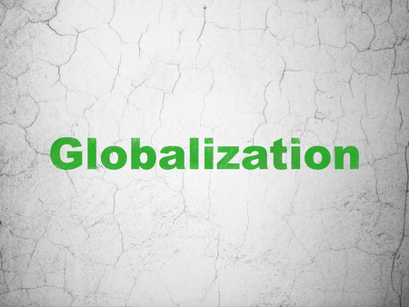 globalization: Finance concept: Green Globalization on textured concrete wall background