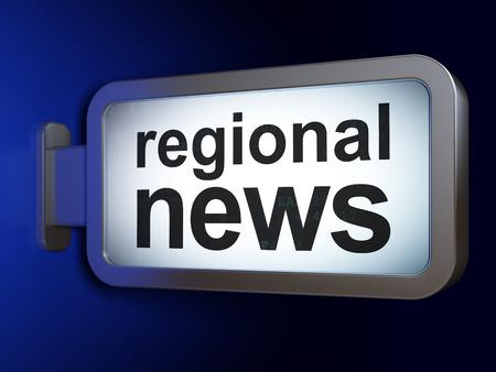 regional: News concept: Regional News on advertising billboard background, 3D rendering