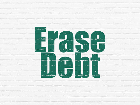 erase: Business concept: Painted green text Erase Debt on White Brick wall background
