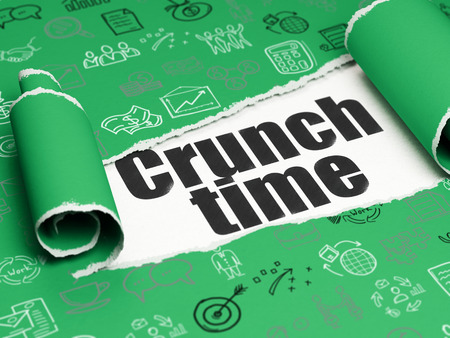 crunch: Finance concept: black text Crunch Time under the curled piece of Green torn paper with  Hand Drawn Business Icons, 3D rendering Stock Photo