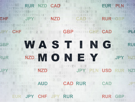 wasting: Banking concept: Painted black text Wasting Money on Digital Data Paper background with Currency Stock Photo