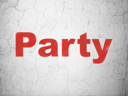 holiday party: Holiday concept: Red Party on textured concrete wall background