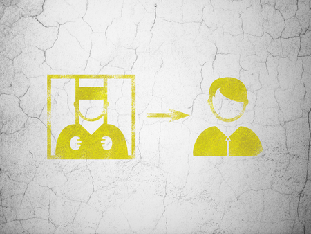 concrete court: Law concept: Yellow Criminal Freed on textured concrete wall background Stock Photo