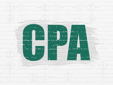 cpa: Business concept: Painted green text CPA on White Brick wall background with Scheme Of Binary Code