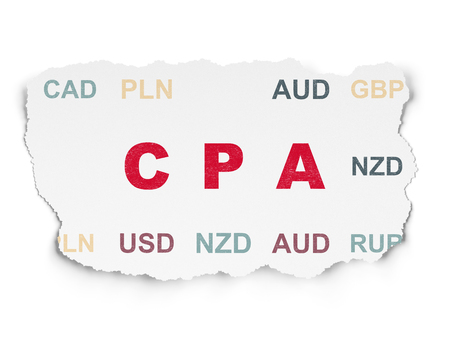cpa: Finance concept: Painted red text CPA on Torn Paper background with  Currency