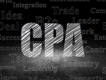 cpa: Business concept: Glowing text CPA in grunge dark room with Dirty Floor, black background with  Tag Cloud