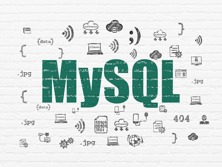 mysql: Programming concept: Painted green text MySQL on White Brick wall background with  Hand Drawn Programming Icons