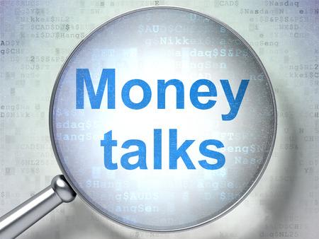 conversaciones: Concepto de las finanzas: lupa óptica con palabras negociaciones del dinero en el fondo digital, 3D Foto de archivo