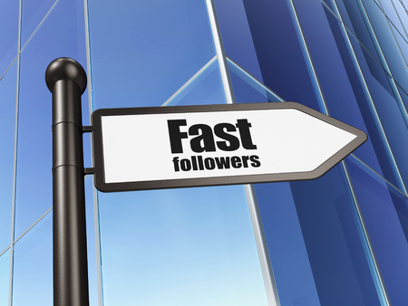 followers: Finance concept: sign Fast Followers on Building background, 3D rendering
