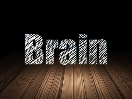 text room: Healthcare concept: Glowing text Brain in grunge dark room with Wooden Floor, black background