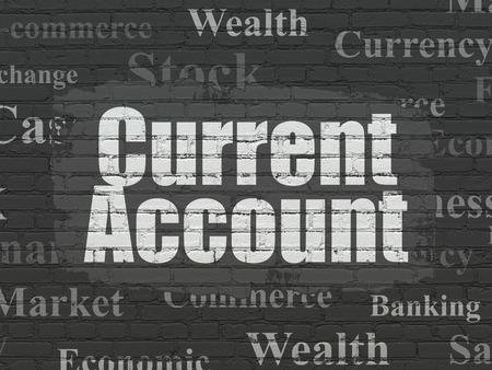 current account: Money concept: Painted white text Current Account on Black Brick wall background with  Tag Cloud