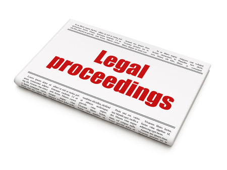 proceedings: Law concept: newspaper headline Legal Proceedings on White background, 3D rendering Stock Photo